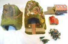 Älterer Modellbahn H0 Konvolut Tunnel Häuser Gebäude Bäume Figuren aus Sammlung