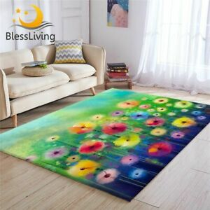 Floral Large Carpets For Living Room  Flower Play Floor Mat Watercolor Area Rug