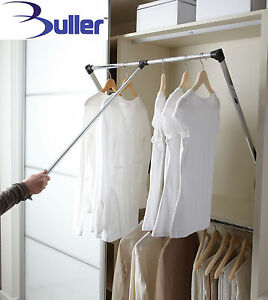 Lift / Pull Down Wardrobe Clothes Hanging Rail 450-1150mm With 12kg Load Rating