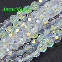50 x loose beads glass rondelle faceted round ball 8mm clear ab colour jewellery