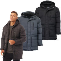 Mens Long Jacket Brave Soul Padded Mesh Hoodie Parka Style Coat Quilted Winter