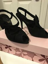 bnwt Poste Mistress Size 3 Shoes Heels Sandals 100% Suede Leather Black New