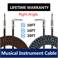 """10 Feet Electric Guitar Instrument Cable 1/4"""" Right Angle to Straight Patch Cord"""