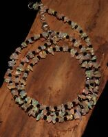 "29 TCW 20"" 925 Silver Genuine Ethiopian Opal chip with 2mm spinal Bead Necklace"