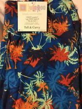 Lularoe TC Tall Curvy Leggings Blue Hawaiian Palm Trees Coconut Sunset New Plus