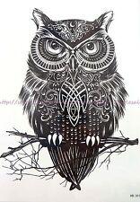 "tattoo on wrist for girls  black owl totem 8.25"" large temporary arm tattoos"