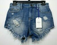 Cello Womens Blue Wash Comfort Fit 5-Pocket Distressed Cut-Off Denim Shorts XS