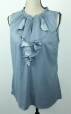 Nicole Miller Women's Medium Shirt Gray Sleeveless Ruffle Zipper Front Polyester