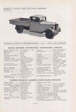 BREMEN, Typentafel 1935, Hansa-Lloyd und Goliath-Werke Lastkraftwagen