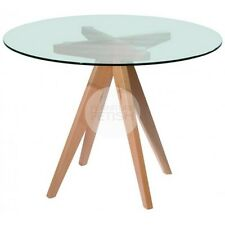 Replica Designer Meals Dining Glass Round Table - 100cm Natural Beech Wood