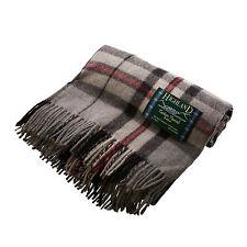 EDINBURGH ALL WOOL 100% Wool Scottish Blanket Rug Thomson Grey