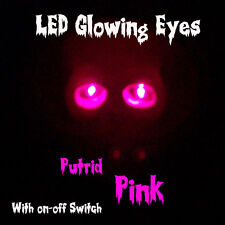 LED GLOWING EYES HALLOWEEN ~ PINK ~ 5MM 9V ON/OFF SWITCH