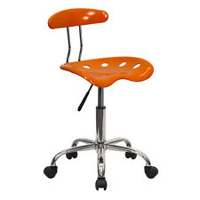 Flash Furniture Vibrant Orange & Chrome Computer Task Chair w/Tractor Seat NEW