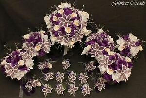 19 Piece Package Silk and Beaded Flower Wedding Bridal Bouquet Set PURPLE Lilies