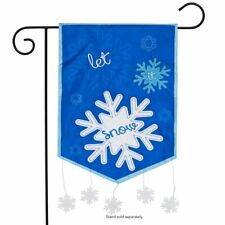 "Let It Snow Winter Applique Garden Flag Snowflakes Seasonal 12.5"" x 18"""