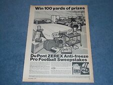 "1967 DuPont Zerex Anti-Freeze Vintage Ad ""Win 100 Yards of Prizes"" 1968 Firebird"