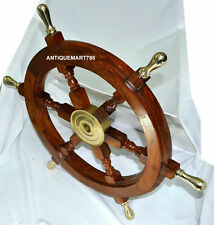 "18"" Inch Nautical Wooden Ship Wheel With Brass Handle Wall Decor handmade design"