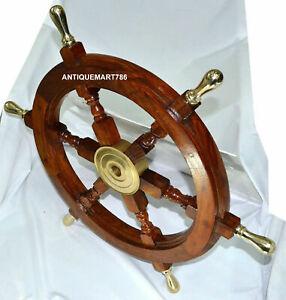 "18"" Inch Nautical Wooden Ship Wheel With Brass Handle Wall Decor handmade design"