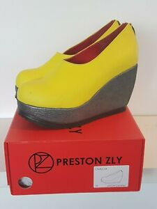 Preston Zly Bespoke Handmade Designer Shoes Omega Electric Yellow Pre owned