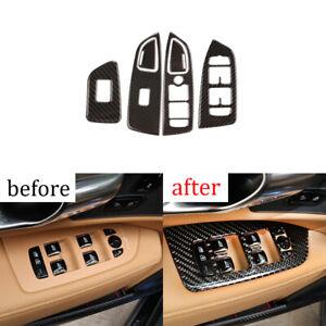 For Volvo S90 2017-2020 carbon fiber Window lift panel switch cover trim 4pcs