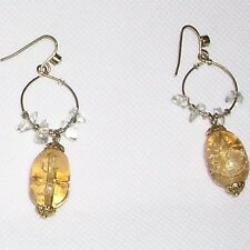 """Stone Earrings: Crackle(Gold Oval) & Clear Color(on Hoops). Dangles 1.75"""" NICE!"""
