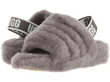 UGG Fluff Yeah Slippers Gray Slides Charcoal Uggs Slingback Shoes Size 8 Women
