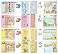Angola 5 + 10 + 50 + 100 Kwanzas 2012 - 2017  Set of 4 Banknotes 4 PCS  UNC