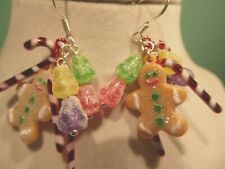 Christmas Handcrafted Usa Nora's Gumdrops,Gingerbread, Candy 925 Earrings