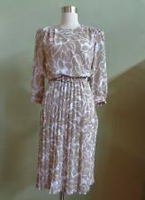 Vintage 80's Alexis Fashions Dress Beige & White Floral Print Pleated Skirt