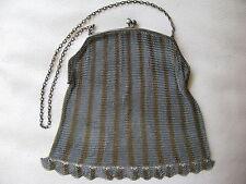 Antique Art Deco Two Tone Stripe Gold Silver Green Jewel Fringe Micro Mesh Purse
