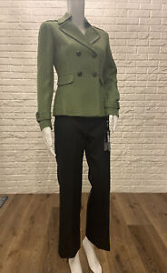 Womens Tahari ASL Double Breasted Green Grey Viviana Pant Suit Size 0P NWT $320