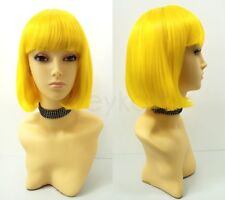 Yellow Short Bob Wig Straight Bangs Synthetic Cosplay Page Boy 9""
