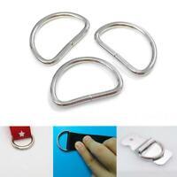 10-100pc D rings buckles for webbing Hand Bag 25mm x 1.8mm semi-circular bu C9F8