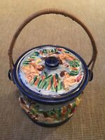 Vintage Lidded Box Pot With Handle Biscuit Barrel Made In Japan