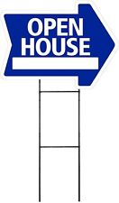 """Large (18""""x24"""") Open House - Blue - Arrow Shaped Sign Kit with Stand"""