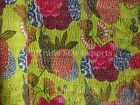 Indian Tropical Kantha Quilt Boho Cotton Queen Bedding Reversible Throw Blanket