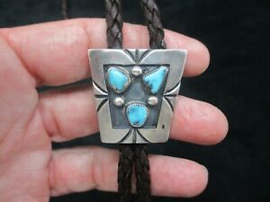 Vintage-Sterling Silver & Turquoise Deep Brown Cord Bolo