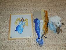 Vintage Painted Signed Needlepoint Canvas Trumpeting Angel with Yarn