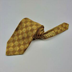 Hand Sewn Robert Talbott Estate Collection Designer Decorative Gold Checker Tie