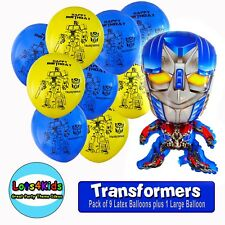 TRANSFORMERS OPTIMUS PRIME PARTY BALLOONS - PARTY SUPPLIES - PACK OF 10