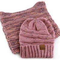 Winter Warm Knit Infinity Loop Scarf And Cuff Beanie Hat Bundle Set WS-22