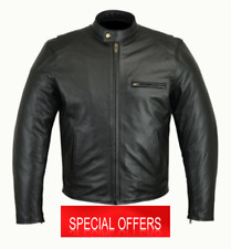 RKsports Biker Style Leather Black 05 Motorbike Black Fashion Jacket (OFFER!!!)