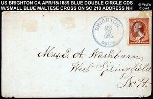 1885 COVER PM BRIGHTON CA BLUE CDS DOUBLE CIRCLE W/SMALL BLUE MATTESE CROSS