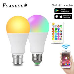 E27 B22 LED RGB Light Bulb Smart Wireless Bluetooth Remote Color Changing Lamp