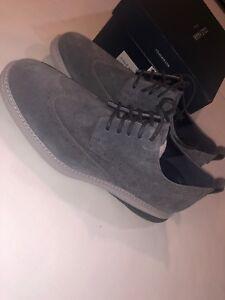 Men's Cole Haan Grand Evolution Gray Suede Wingtip Oxford Shoes C27395 Size 9.5
