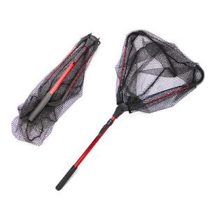 Fish Landing Net Foldable Collapsible Telescopic Aluminum Pole Handle Durable