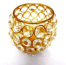 """Handcrafted Crystal Tea Light Candle Holder Gold Finish 2.5""""X3"""" Christmas Gift"""