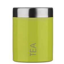 Premier Housewares Tea Canister Lime Green Caddy Storage Jar Container Kitchen