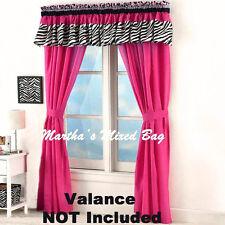 """SAFARI JUNGLE Girls Solid PINK DRAPES 4pc Window Treatment 84""""x84""""Curtain Panels"""