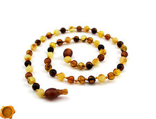 SAFEST POP CLASP Amber teething necklace bracelet anklet raw Baltic amber beads